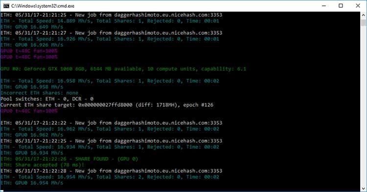 Хешрейт при добычи криптовалюты Ethereum наGTX 1060