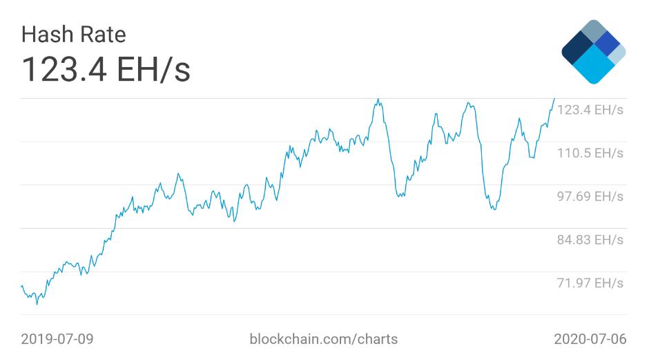 График хешрейта сети биткоина за последний год