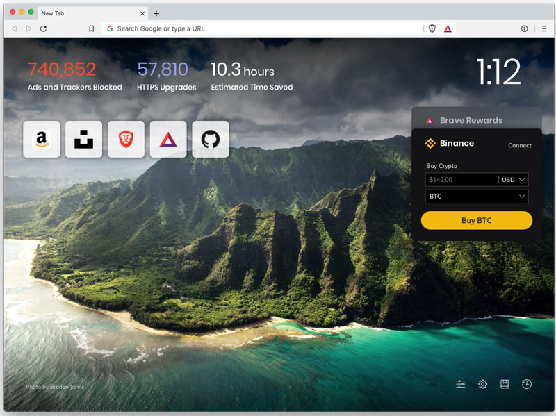Блокчейн-браузер Brave интегрировал в свой интерфейс виджет Binance