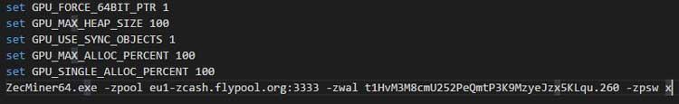 Код в bat файле для Claymore's ZCash AMD GPU Miner