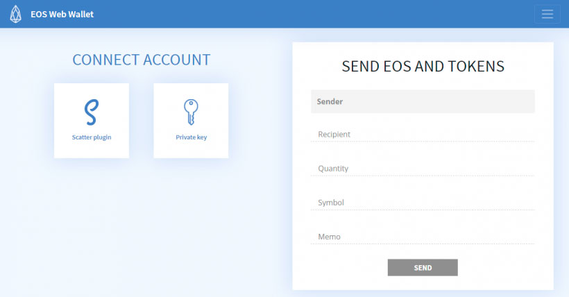 Интерфейс криптовалютного кошелька EOSWebWallet.io
