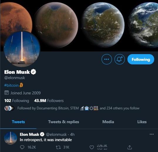 Твит Илона Маска о биткоине