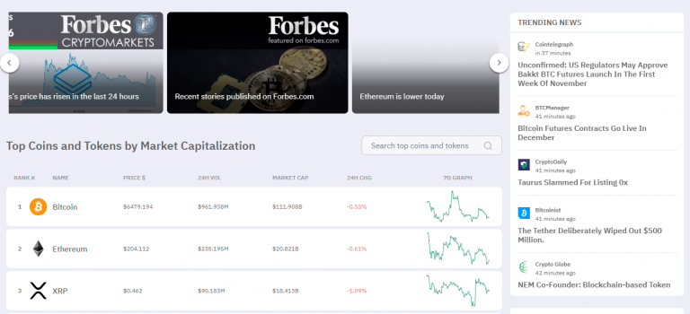 Интерфейс Forbes CryptoMarkets