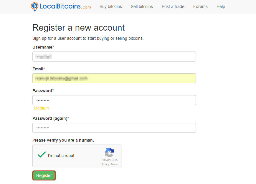 Создание счета на LocalBitcoins
