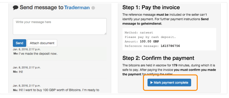 "Отправка биткоинов - ""Mark payment complete"""