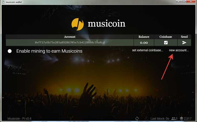 Создаем аккаунт в Musicoin Client