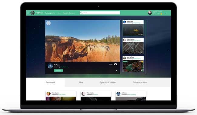 Интерфейс Spectiv VR Media Platform