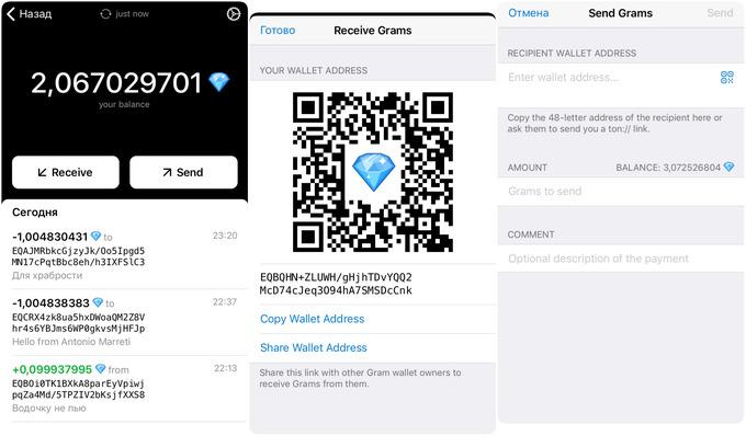 Кошелёк для криптовалюты Telegram