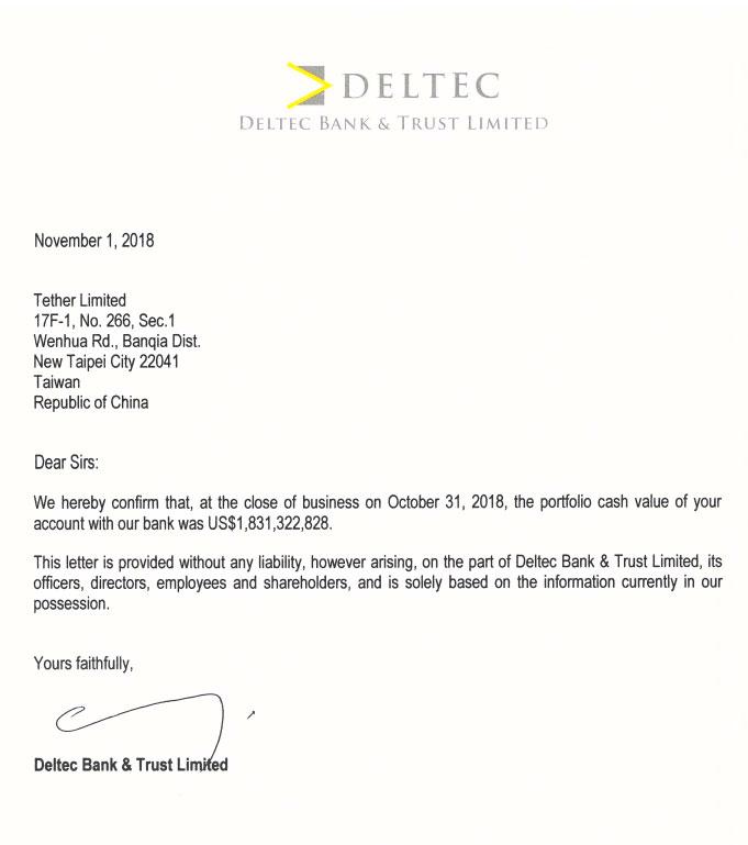 Письмо от Deltec Bank