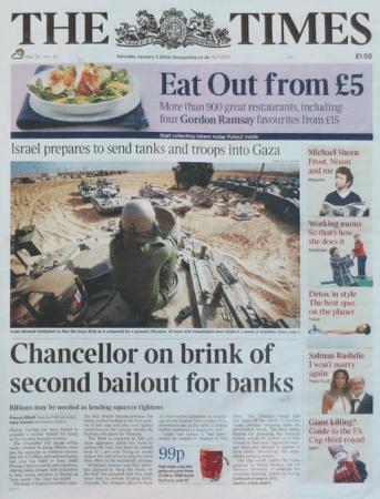 Издание The Times от 3 января 2009