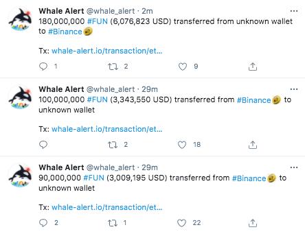 Twitter-аккаунт Whale Alert публикует данные обо всех крупных транзакциях.