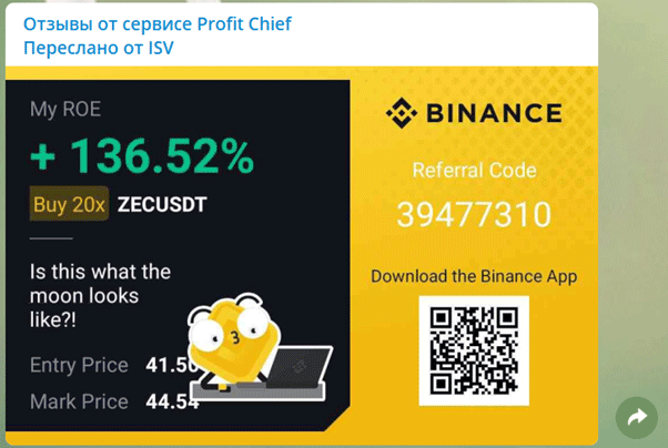 Статистика сервиса Profit Chief на Binance