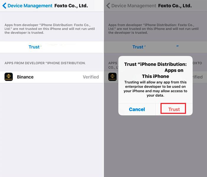 Установка приложения Binance для iOS