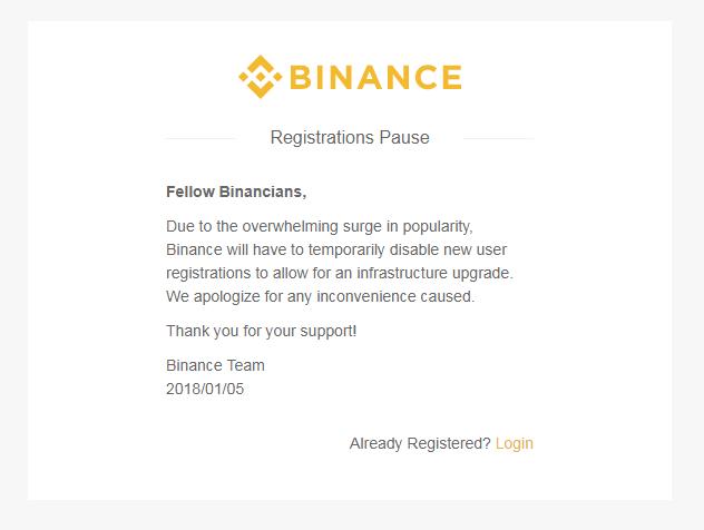 Сообщение на криптовалютной бирже Binance