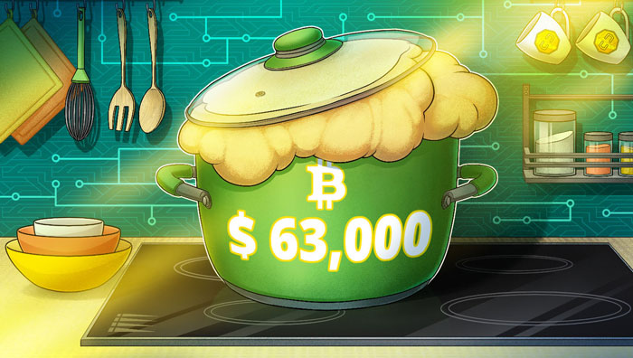Цена биткоина достигла $63000