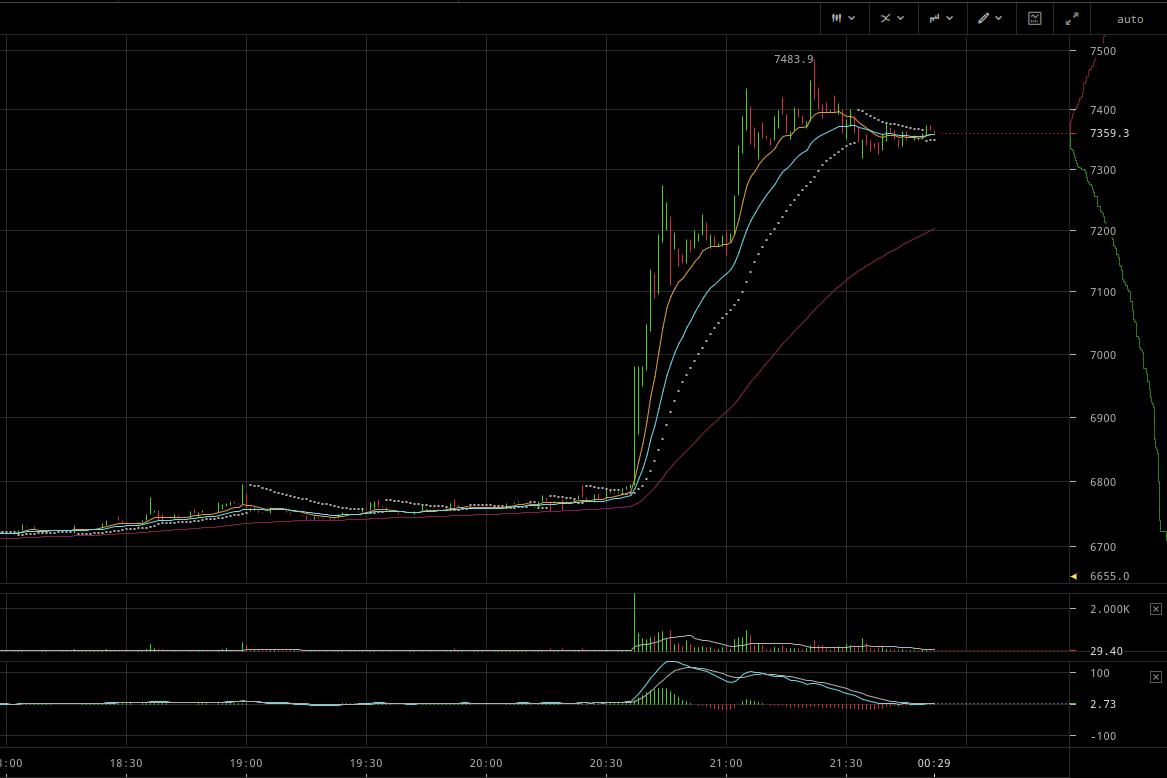 Резкий рост курса BTC на бирже Bitfinex