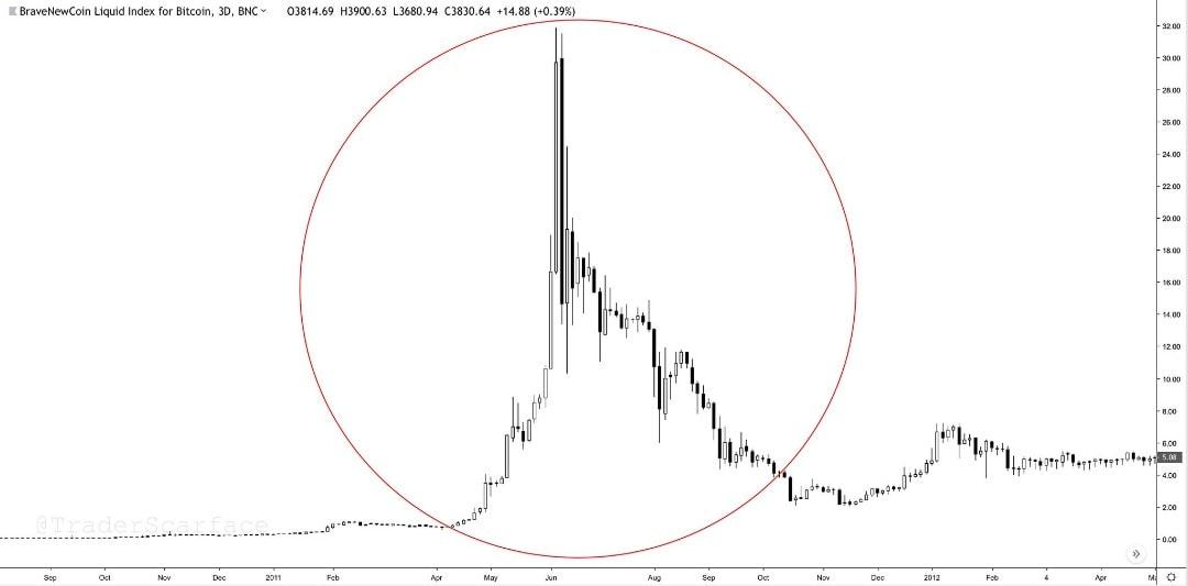 Первый цикл роста курса Bitcoin (BTC)