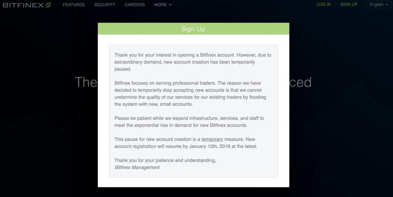 Криптовалютная биржа Bitfinex остановила регистрацию новых пользователей