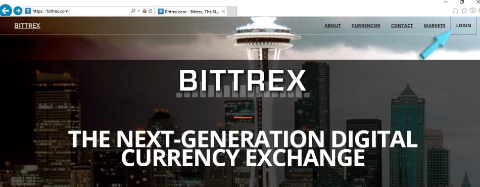 БиржеBittrex - главная страница