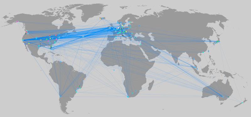Географическое распределение узлов тестовой сети