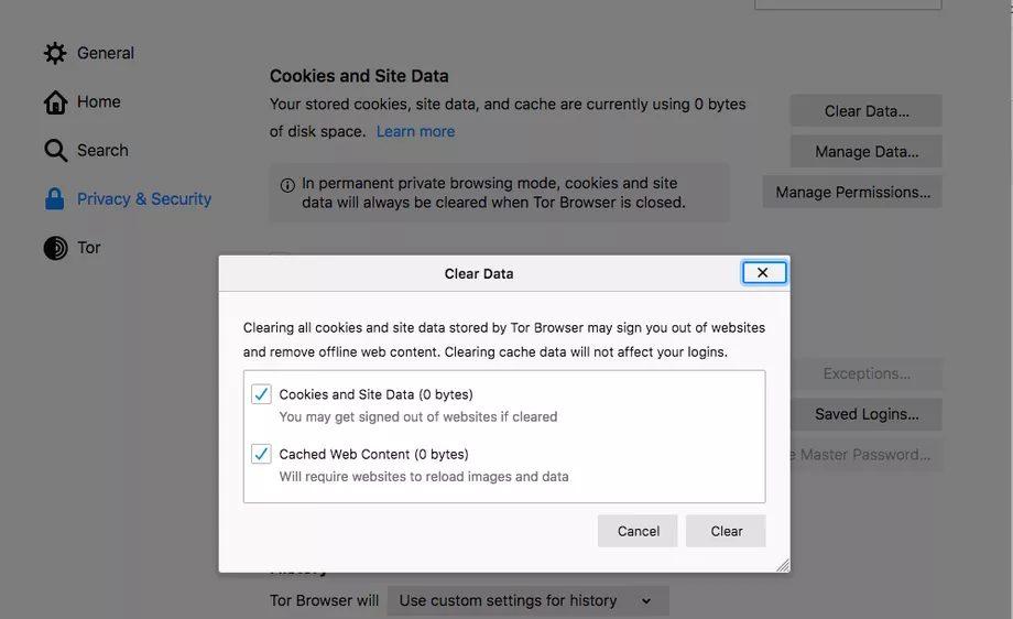 Как удалить все файлы cookie и данные в браузере Tor