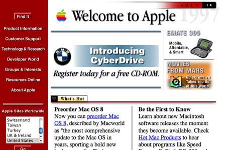 Главная страница компании Apple в Web 1.0