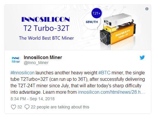 Запуск продаж Innosilicon ASIC T2 Turbo с мощностью 32TH/s