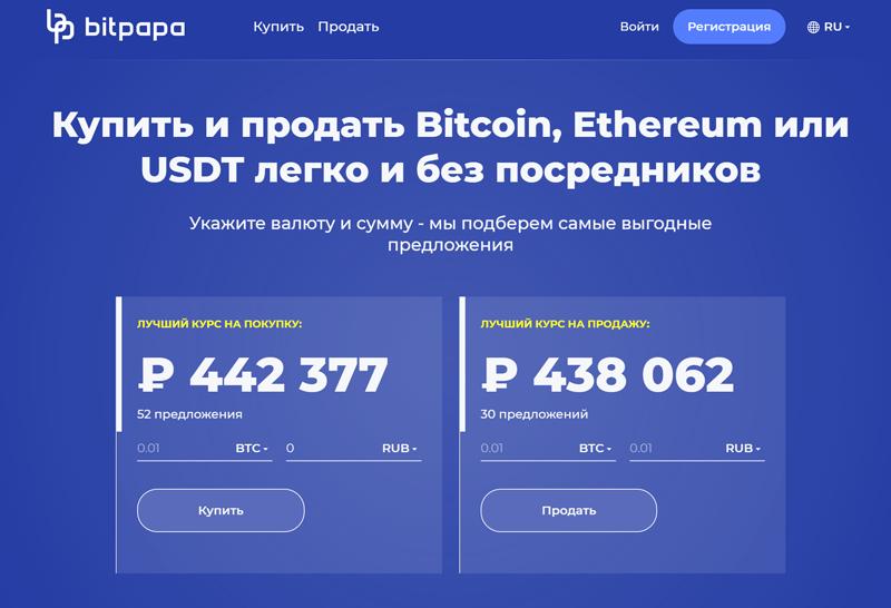 Интерфейс сервиса Bitpapa