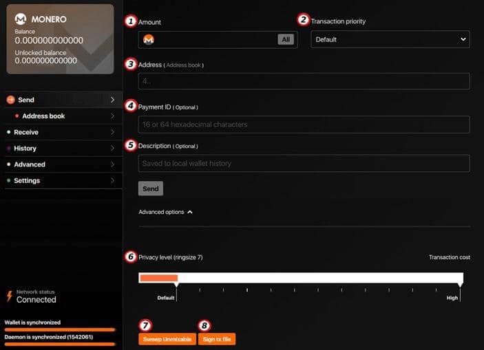 Отправка токенов XMR другому пользователю