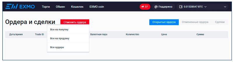 Интерфейс личного кабинета биржи EXMO