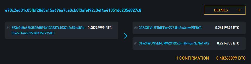 В обозревателе Blockstream источником средств отображается транзакция