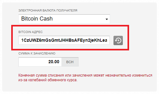 Вставляем адрес Bitcoin Cash с биржи в поле «Bitcoin address» в Adv Cash