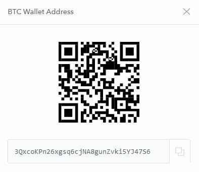 Адрес используется для отправки BTC