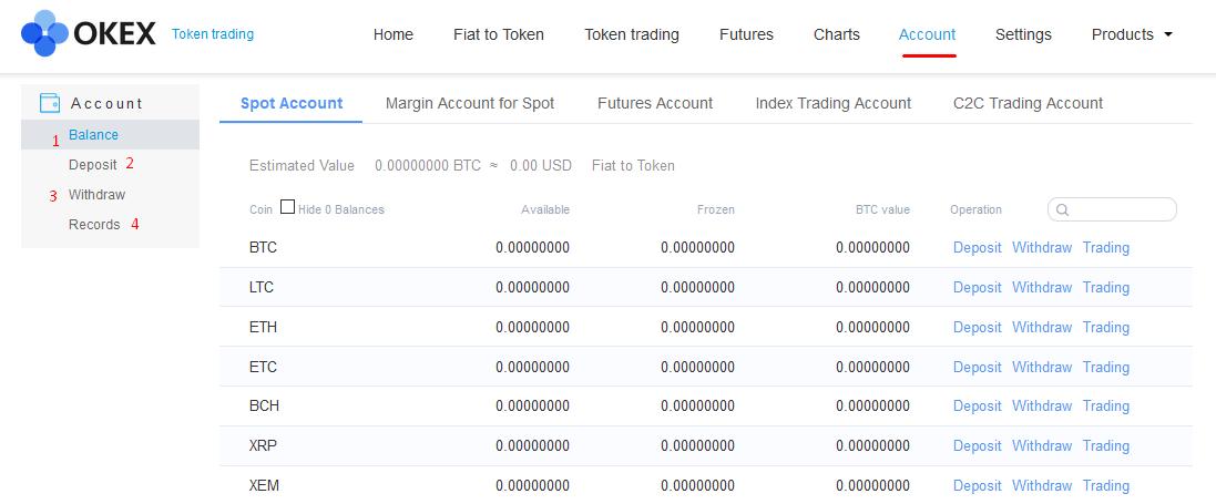 Пополнение аккаунта на бирже OKEx