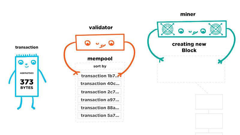 Путь транзакции в сети биткоин