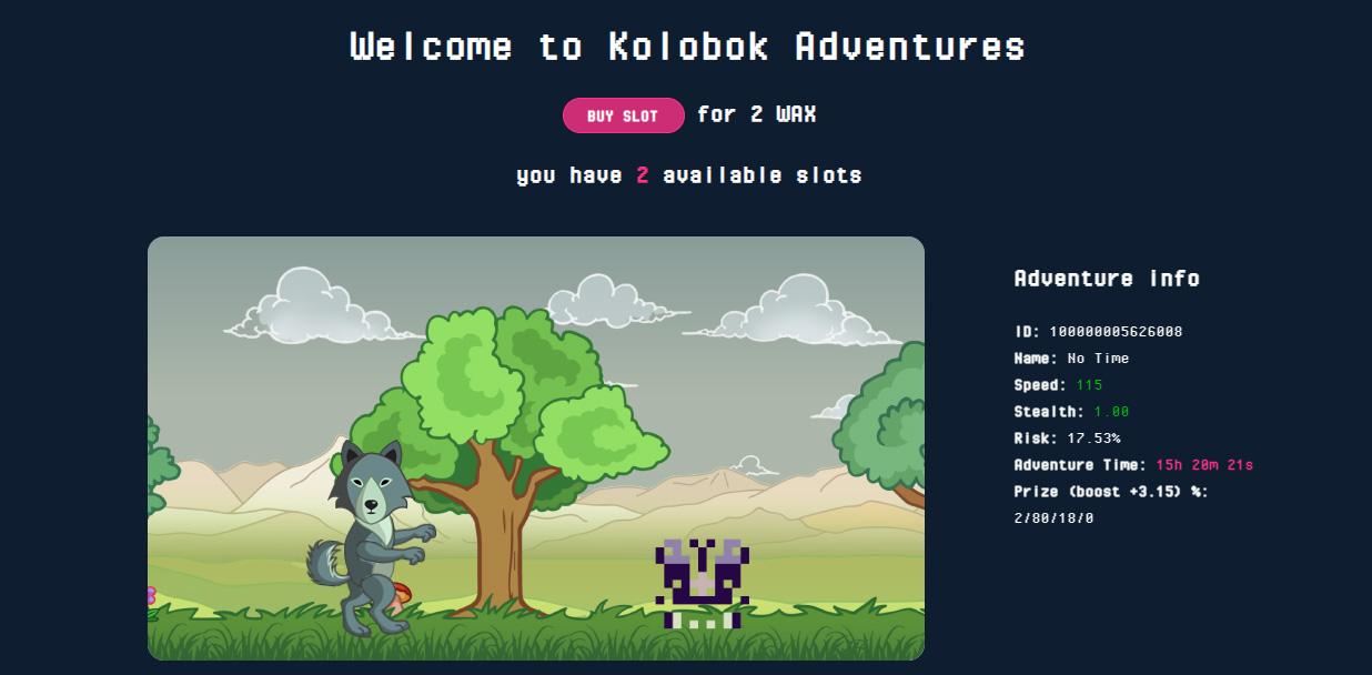 Пример страницы персонажа из Kolobok Adventures