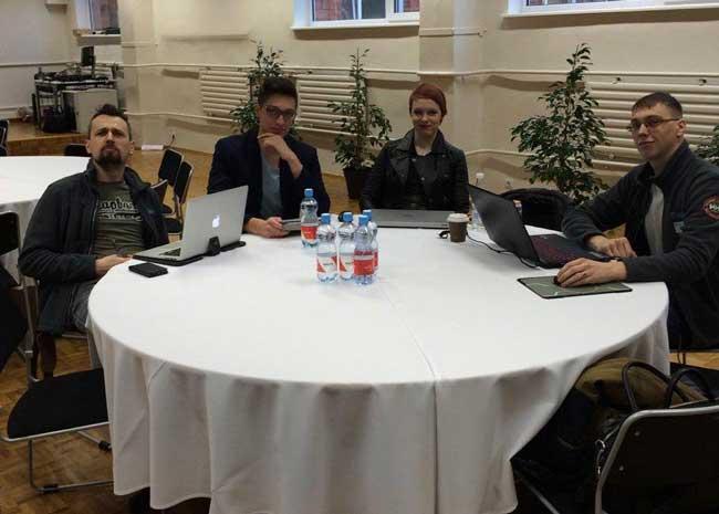 Слева направо: Николай Павловский, Александр Громов, Ренна Реэмет, Виталий Павлов. Coinfest 2015 в Таллинне, день объявления о запуске HashFlare.