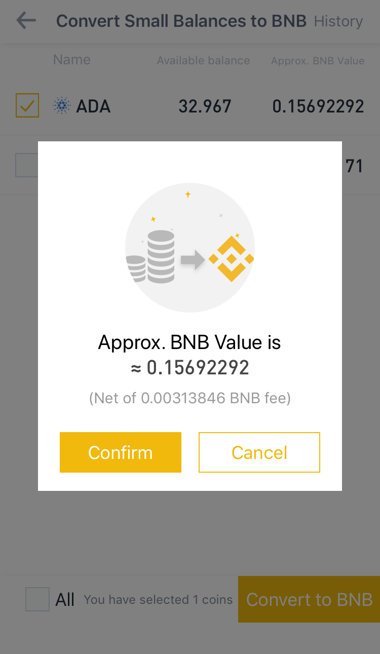 Конвертер криптовалют в токен BNB