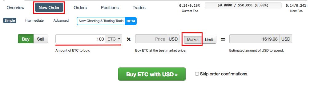 Ордер на покупку ETC/USD