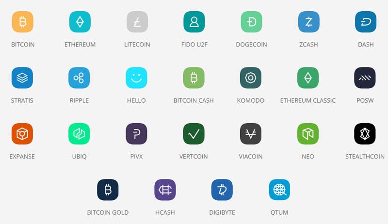 Криптовалюты поддерживаемыеLedger Blue