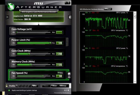 Настройки MSI Afterburner для  разгона GTX 1080