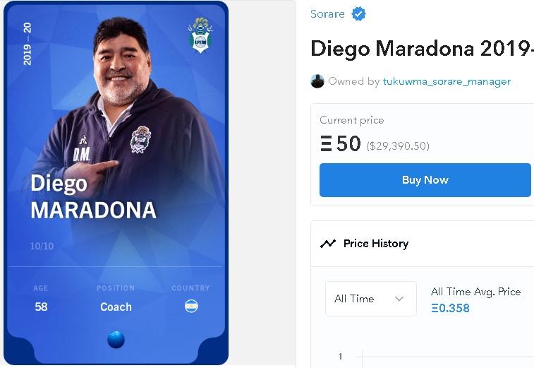NFT карта Диего Марадоны