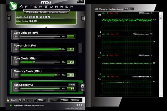 Разгон Nvidia GTX 1070 в MSI Afterburner