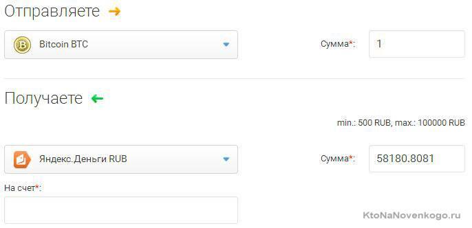 Минимум для перевода в рублях – 500, максимум – 100 000