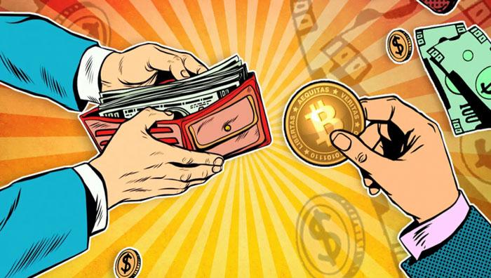 Обмен криптовалюты на наличные рубли и доллары