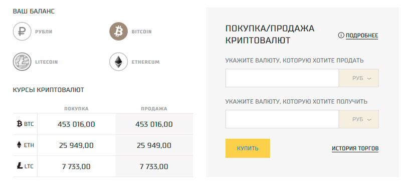 Обменник с возможностью покупки и продажи криптовалюты за рубли