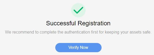 Окно подтверждения успешной регистрации
