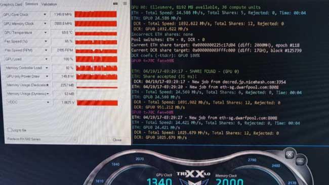 Radeon RX 580 8g при майнинге Эфириума (ETH)