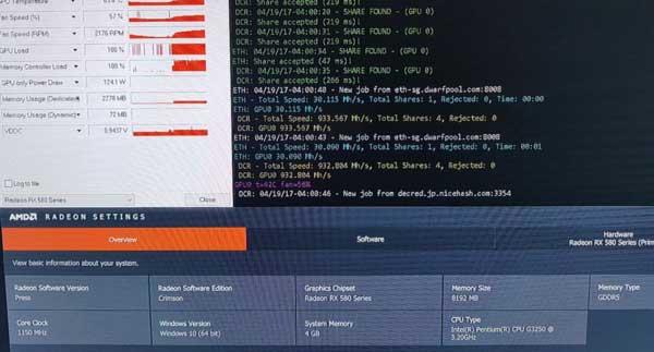 Radeon RX 580 8g дуал майнинг Эфира и Декрет в стоке