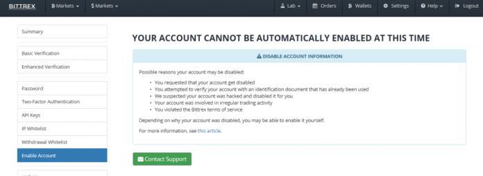 Сообщение о невозможности входа в аккаунт Bittrex